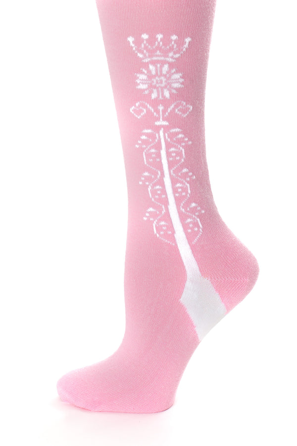 Delp Stockings Clocked Cotton, Crown Style. Pink with White ankle clocking design side detail view.
