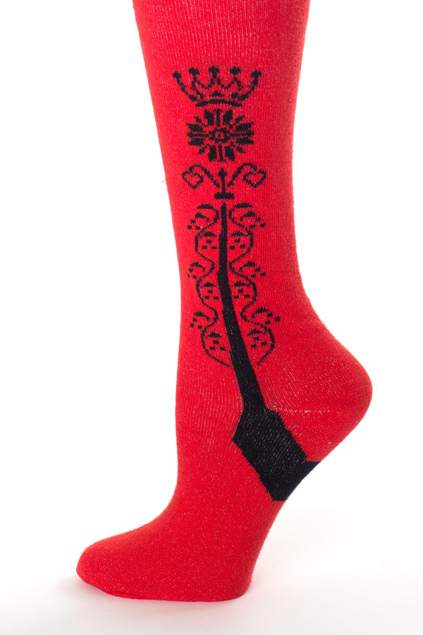 Delp Stockings Clocked Cotton, Crown Style. Red with Black ankle clocking design side detail view.