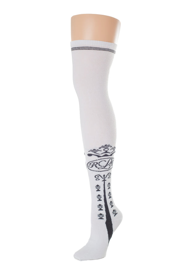 Delp Stockings Clocked Cotton, RBL Style. White with Black ankle clocking design side view.