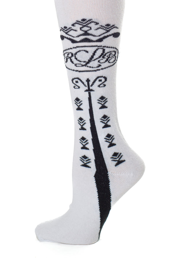 Delp Stockings Clocked Cotton, RBL Style. White with Black ankle clocking design side detail view.