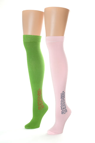 Delp Stockings Clocked Cotton, Vine Style. Green with Red ankle clocking design and Pink with Navy Blue ankle clocking design, side by side view.