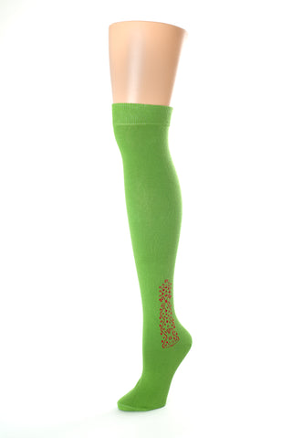 Delp Stockings Clocked Cotton, Vine Style. Green with Red ankle clocking design side view.