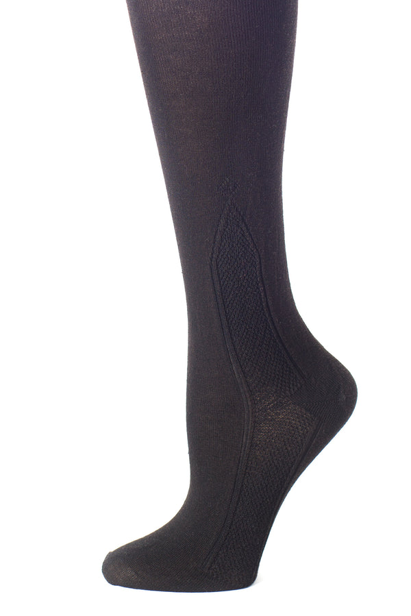 Delp Stockings, Seamed Clocked Silk Stockings. Black color side detail view.