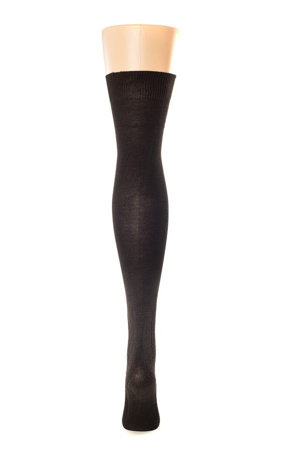 Delp Stockings, Seamed Clocked Silk Stockings. Black color back view.
