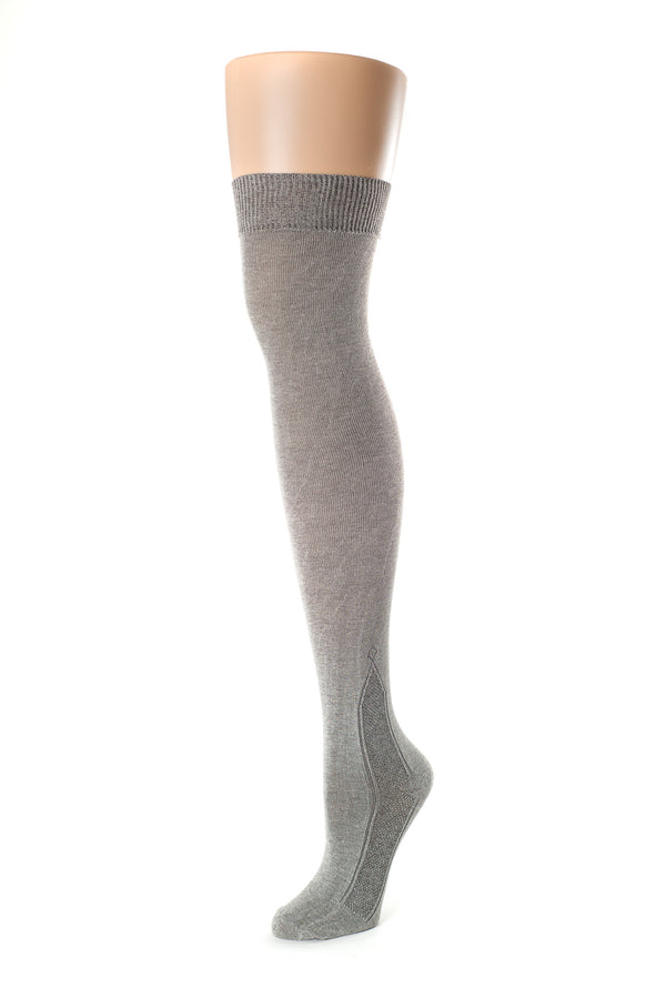 Delp Stockings Clocked Silk Stockings with knitted ankle clocking design. Charcoal color side view.