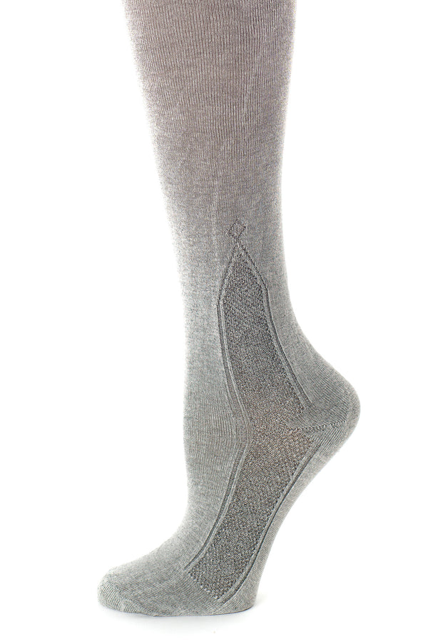 Delp Stockings Clocked Silk Stockings with knitted ankle clocking design. Charcoal color side detail view.