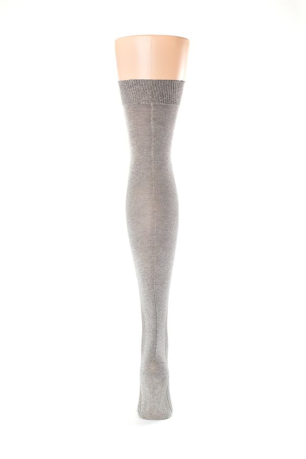 Delp Stockings Clocked Silk Stockings with knitted ankle clocking design. Charcoal color back view.