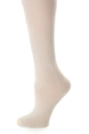 Delp Stockings, Seamed Clocked Silk Stockings. Cream color side detail view.