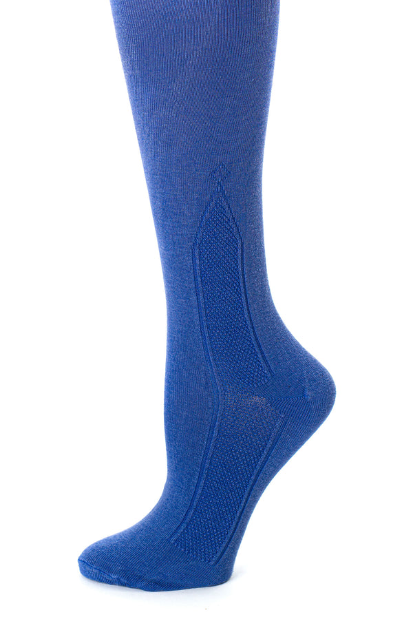 Delp Stockings Clocked Silk Stockings with knitted ankle clocking design. Royal Blue color side detail view.