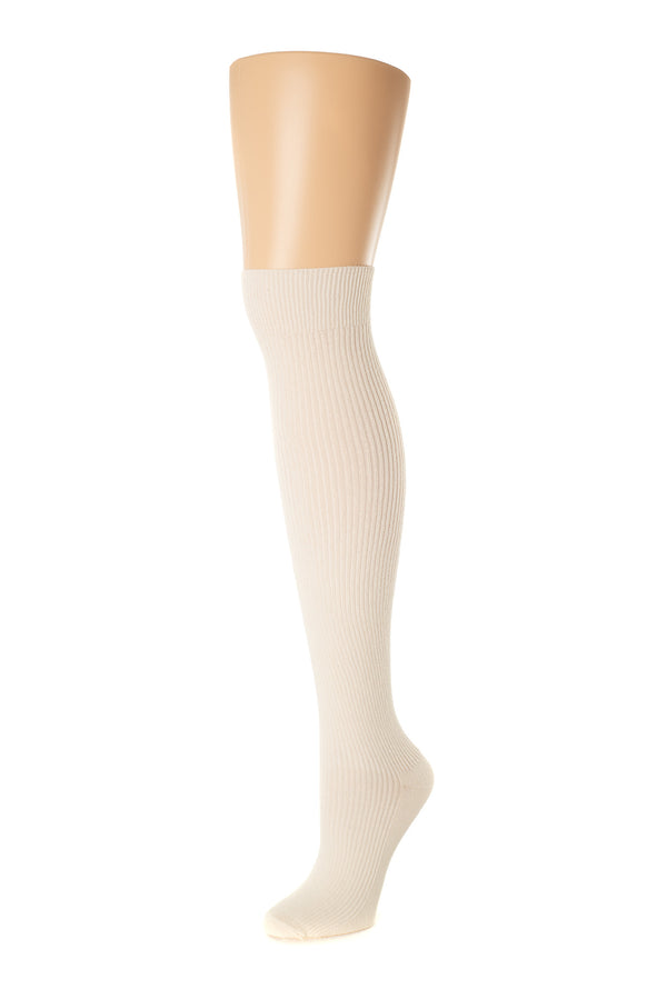 Delp Stockings Derbytight Cotton Stockings. Cream color side view.