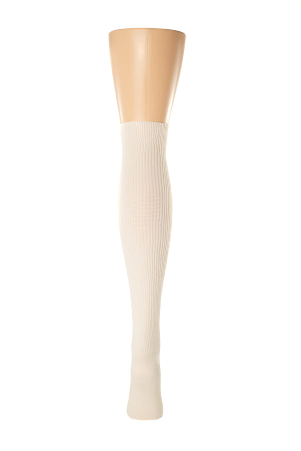 Delp Stockings Derbytight Cotton Stockings. Cream color back view.