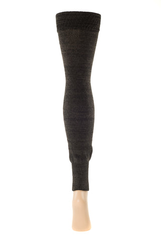 Delp Stockings Footless Cotton Stockings. Charcoal color side view.
