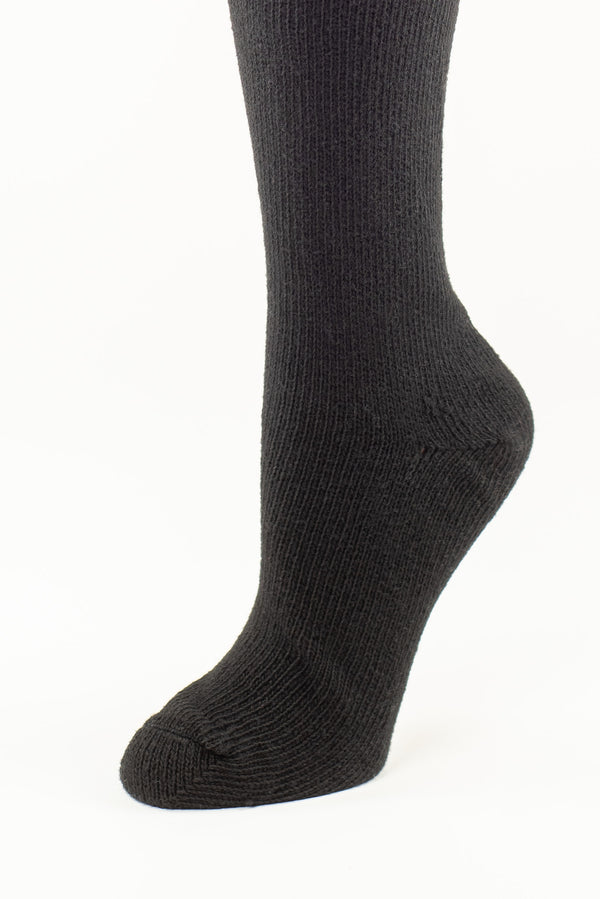 Delp Stockings, Seamed Heavyweight Cotton Stockings. Black color side detail view.