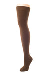 Delp Stockings, Seamed Heavyweight Cotton Stockings. Brown color side view.