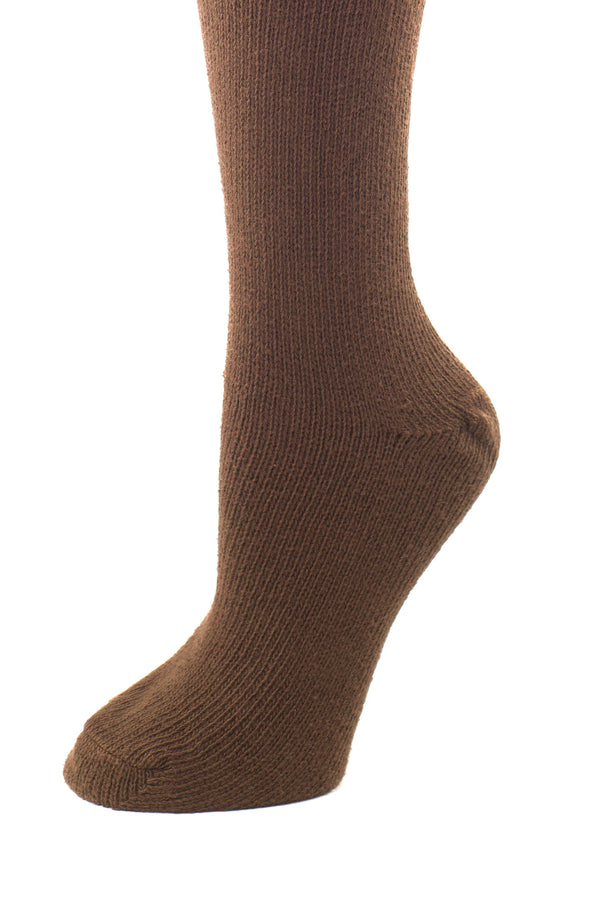 Delp Stockings, Seamed Heavyweight Cotton Stockings. Brown color side detail view.