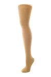 Delp Stockings, Seamed Heavyweight Cotton Stockings. Camel color side view