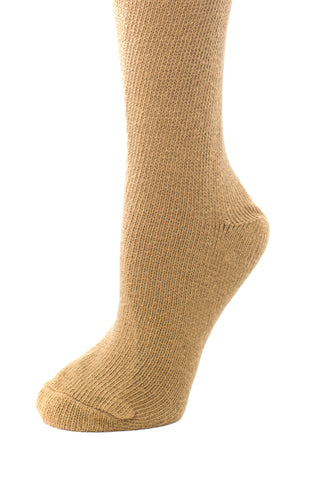 Delp Stockings Heavyweight Cotton Stockings. Camel color side view.