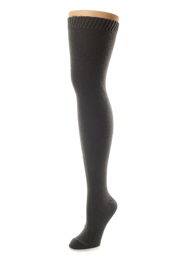 Delp Stockings, Seamed Heavyweight Cotton Stockings. Charcoal color side view.