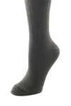 Delp Stockings, Seamed Heavyweight Cotton Stockings. Charcoal color side detail view.