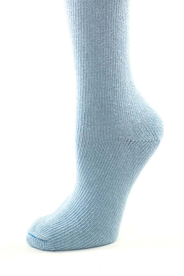 Delp Stockings, Seamed Heavyweight Cotton Stockings. Colonial Blue color side detail view.