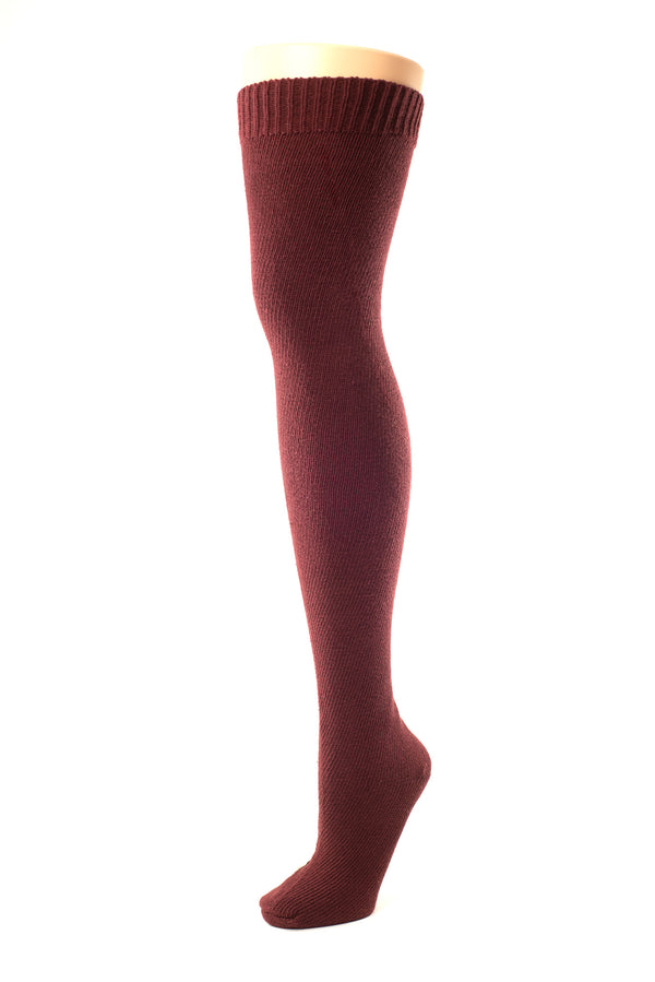 Delp Stockings Heavyweight Cotton Stockings. Cranberry color side view.