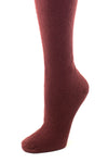Delp Stockings Heavyweight Cotton Stockings. Cranberry color side detail view.