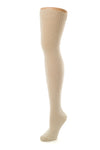 Delp Stockings, Seamed Heavyweight Cotton Stockings. Cream color side view.