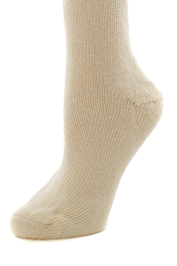 Delp Stockings, Seamed Heavyweight Cotton Stockings. Cream color side detail view.