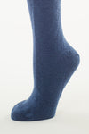 Delp Stockings Heavyweight Cotton Stockings. Dark Blue color side detail view.