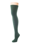 Delp Stockings, Seamed Heavyweight Cotton Stockings. Dark Green color side view.