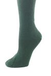 Delp Stockings, Seamed Heavyweight Cotton Stockings. Dark Green color side detail view.