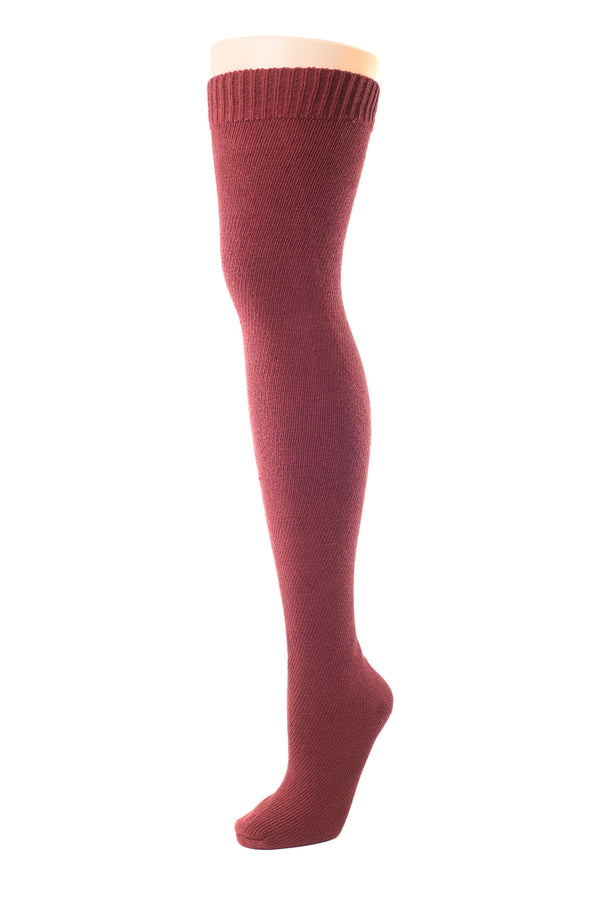 Delp Stockings, Seamed Heavyweight Cotton Stockings. Maroon color side view.