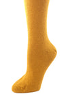 Delp Stockings, Seamed Heavyweight Cotton Stockings. Mustard color side detail view.