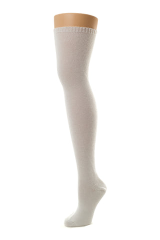 Delp Stockings, Seamed Heavyweight Cotton Stockings. White color side view.