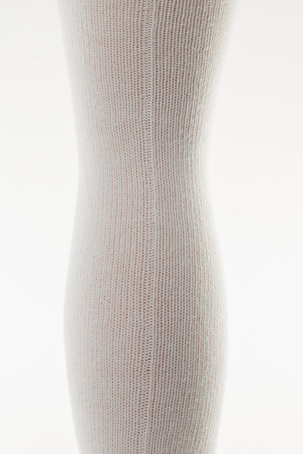 Delp Stockings, Seamed Heavyweight Cotton Stockings. White color back view showing seam.