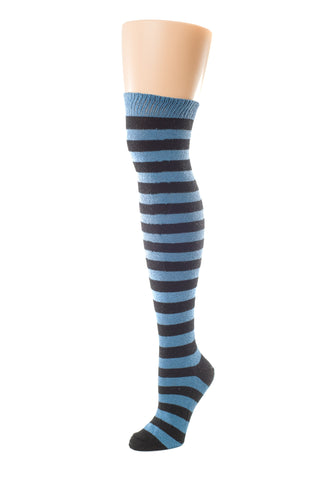 Delp Stockings, Heavyweight Horizontal Striped Cotton Stockings. Blue and Black color side view.