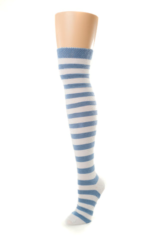 Delp Stockings, Heavyweight Horizontal Striped Cotton Stockings. Light Blue and White color side view.