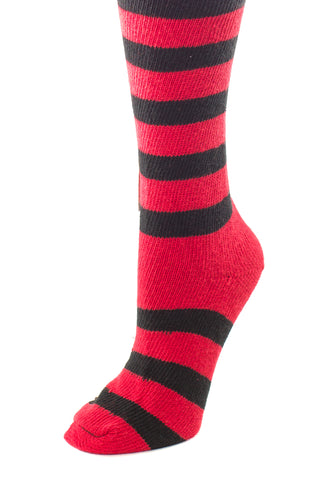Delp Stockings, Heavyweight Horizontal Striped Cotton Stockings. Red and Black color side view.