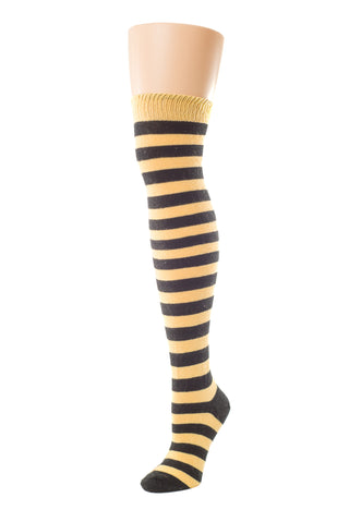 Delp Stockings, Heavyweight Horizontal Striped Cotton Stockings. Yellow and Black color side view.