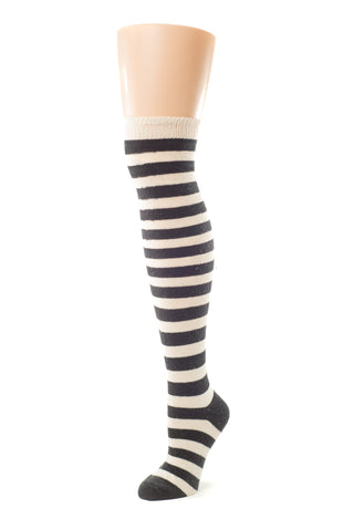 Delp Stockings, Heavyweight Horizontal Striped Cotton Stockings. Cream and Black color side view.