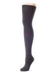 Delp Stockings, Seamed Heavyweight Wool Stockings. Black color side view.