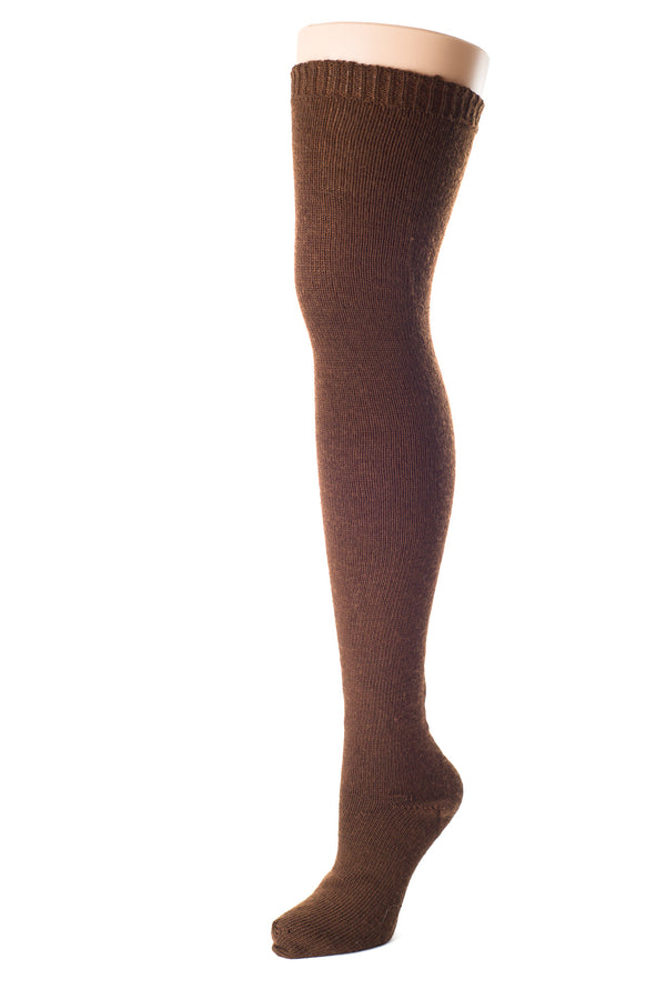 Delp Stockings, Seamed Heavyweight Wool Stockings. Brown color side view.