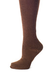Delp Stockings, Seamed Heavyweight Wool Stockings. Brown color side detail view.