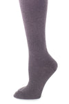 Delp Stockings, Seamed Heavyweight Wool Stockings. Charcoal color side detail view.
