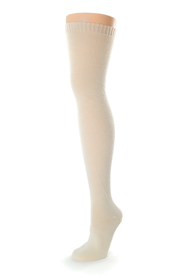 Delp Stockings, Seamed Heavyweight Wool Stockings. Cream color side view.