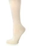 Delp Stockings, Seamed Heavyweight Wool Stockings. Cream color side detail view.