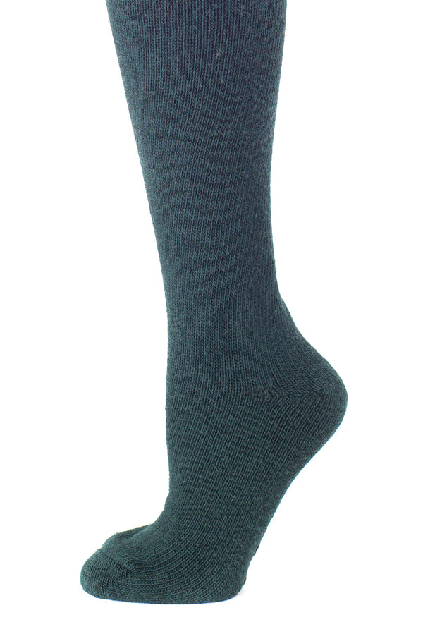 Delp Stockings, Heavyweight Wool Stockings. Green color side detail view.