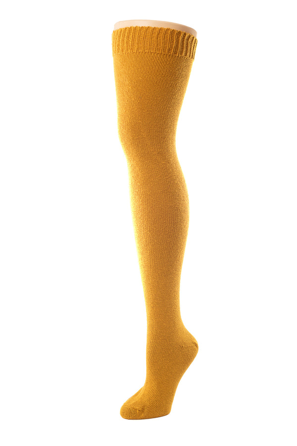 Delp Stockings, Seamed Heavyweight Cotton Stockings. Mustard color side view.