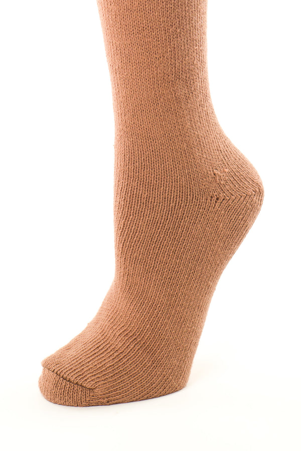 Delp Stockings, Seamed Heavyweight Cotton Stockings. Salmon color side detail  view.