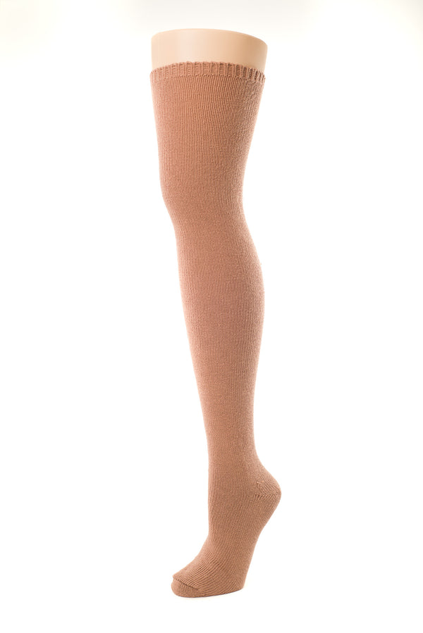 Delp Stockings, Seamed Heavyweight Cotton Stockings. Salmon color side view